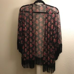 Floral Kimono with Fringe - New without tags